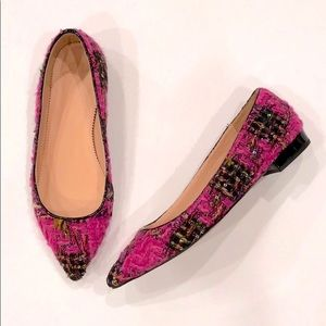 J. Crew Pink Tweed Sequin Pointed Toe Flats